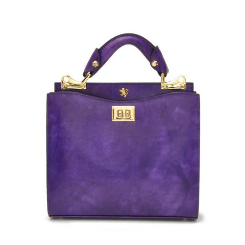 Anna Maria Luisa: Radica Range Collection – Small Italian Calf Leather Top Handle Handbag in Purple