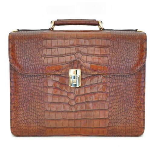 Verrocchio: King Croco Range Collection – Triple Compartment Italian Calf Leather Briefcase in Cognac
