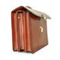Verrocchio: King Croco Range Collection – Triple Compartment Italian Calf Leather Briefcase in Side view