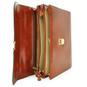 Verrocchio: King Croco Range Collection – Triple Compartment Italian Calf Leather Briefcase in Overhead view
