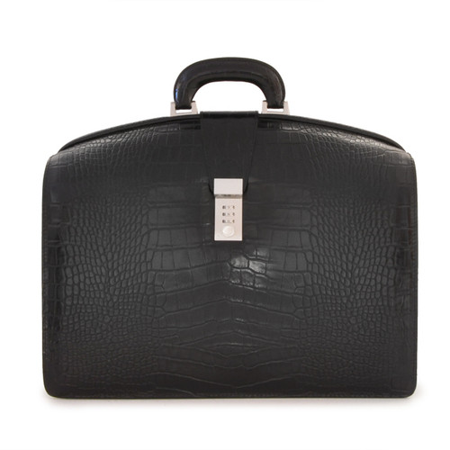 Brunelleschi: King Croco Range Collection - Grande Italian Calf  Leather Lawyer Briefcase in - Black