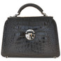 Veneziano: King Croco Range Collection – Small Italian Calf Leather Top Handle Grab Handbag in - Black