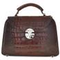 Veneziano: King Croco Range Collection – Small Italian Calf Leather Top Handle Grab Handbag in - Dark Brown