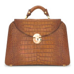 Veneziano: King Croco Range Collection – Large Italian Calf Leather Top Handle Grab Handbag in Cognac