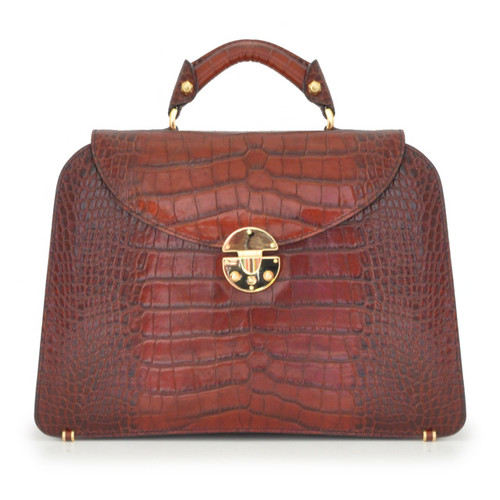 Veneziano: King Croco Range Collection – Large Italian Calf Leather Top Handle Grab Handbag in Brown