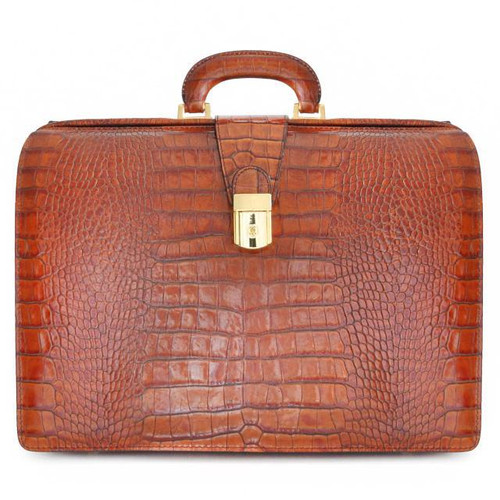 Leonardo: King Croco Range Collection – Accordion Italian Calf Leather Lawyer Briefcase in Cognac
