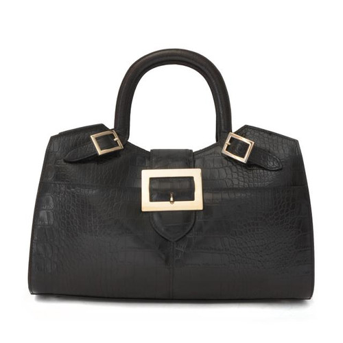 Piero della Francesca: King Croco Range Collection –  Italian Calf Leather Laptop Handbag in Black
