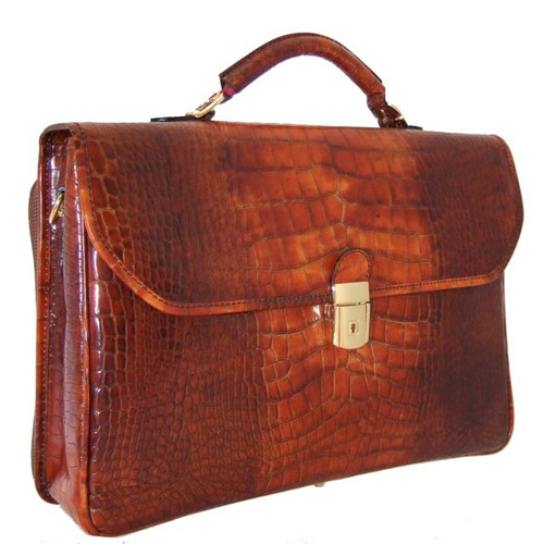 Piccolomini: King Croc Range Collection – Single Compartment Italian Calf Leather Briefcase in - Cognac