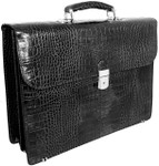 Donatello: King Croco Range Collection – Grande Calf Leather Briefcase in - Black