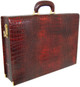 Machiavelli: King Croco Range Collection – Grande Italian Calf Leather Attache Briefcase in Dark Brown - Back View