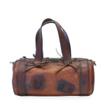 Marisol: Bruce Range Collection – Italian Calf Leather Duffel Tote Bag in Brown