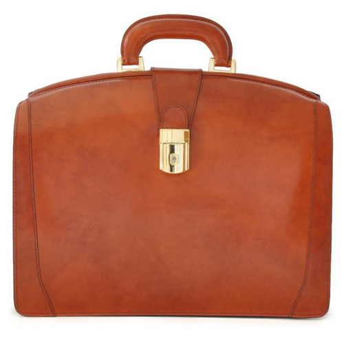 Brunelleschi: Radica Range – Italian Calf Leather Double Compartment Lawyer Briefcase in -  Brown