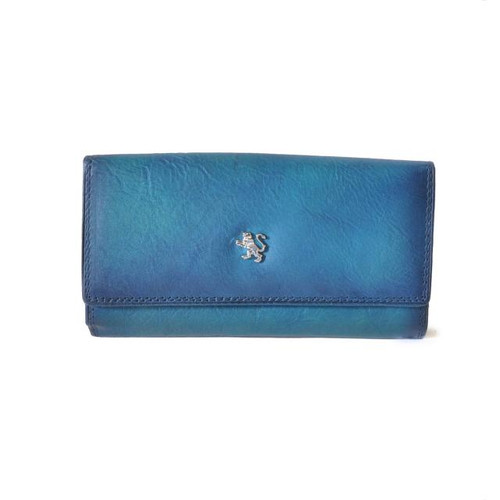Museo Marini P. Donna: Bruce Range Collection – Italian Calf Leather Button Closure Wallet in Blue