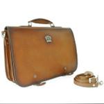 Secchieta: Bruce Range Collection – Italian Calf Leather Laptop Messenger Bag in Cognac  Side view