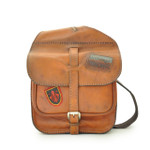 Bisaccia: Bruce Range Collection – Small Italian Calf Leather Messenger Backpack in Cognac Main view