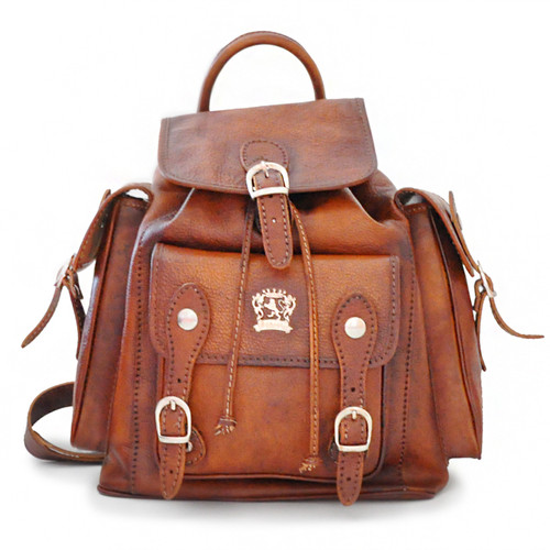 Montalbano: Bruce Range Collection – Italian Calf Leather Buckle Snap Closure Backpack in Brown Main View
