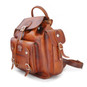 Montalbano: Bruce Range Collection – Italian Calf Leather Buckle Snap Closure Backpack in Brown Side View