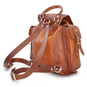 Montalbano: Bruce Range Collection – Italian Calf Leather Buckle Snap Closure Backpack in Brown Back View