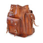 Montalbano: Bruce Range Collection – Italian Calf Leather Buckle Snap Closure Backpack in Brown cross View