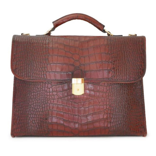 Da Verrazzano: King Croco Range Collection – Calf Leather Briefcase in Dark Brown