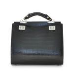 Anna Maria Luisa: King Croco Range Collection – Medium Italian Calf Leather Top Handle Handbag in Black