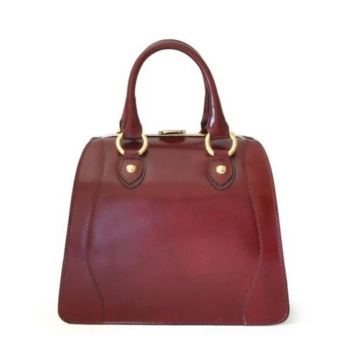 Saturnia: Radica Range Collection – Small Italian Calf Leather Top Handle Tote Handbag- Chianti