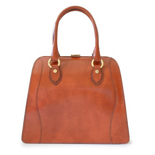 Saturnia : Radica Range Collection – Grande Italian Calf Leather Top Handle Tote Handbag - Brown