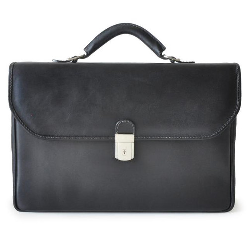 Piccolomini: Bruce Collection - Single Compartment Men's Briefcase in Black