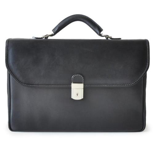 Piccolomini: Bruce Collection - Single Compartment Men's Briefcase in Black