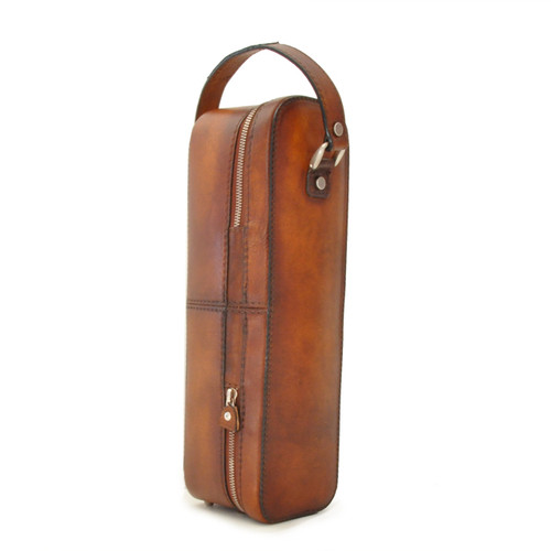 Bacco: Bruce Range Collection – Italian Calf Leather Wine Case in Brown