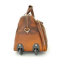 Transiberiana: Bruce Range Collection Small Italian Calf Leather Duffel Wheeled Travel Bag in Brown - Wheeled View