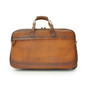 Transiberiana: Bruce Range Collection Small Italian Calf Leather Duffel Wheeled Travel Bag in Brown - Back View