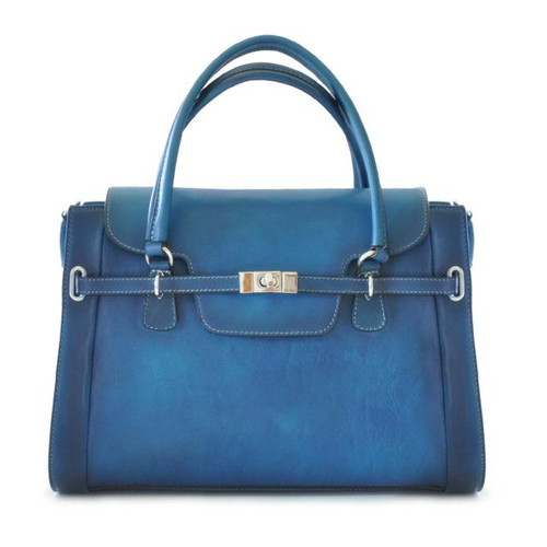 Baratti: Bruce Range Collection – Italian Calf Leather Top Handle Tote Handbag in Blue