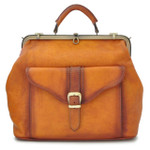 Mary Poppins: Bruce Range Collection – Italian Calf Leather Carry-All Top Handle Bag in Cognac