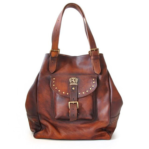 Talamone: Bruce Range Collection – Italian Calf Leather Hobo Handbag in - Full with strap view