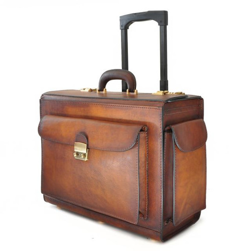 Arnolfo Bruce Range Collection – Single Compartment Italian Calf Leather Briefcase Trolley -  Side view