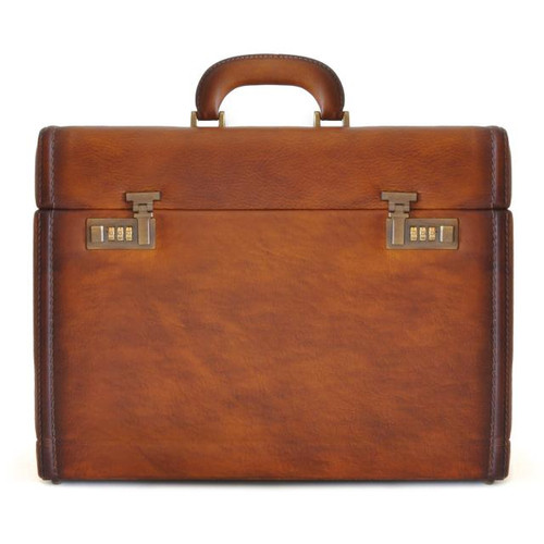 Ghirlandaio: Bruce Range Collection – Italian Calf Leather Small Travel Desk Attache Briefcase in- Brown