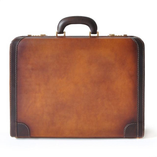 Tiziano: Bruce Range Collection – Italian Calf Leather Attache Briefcase in Brown - Front view