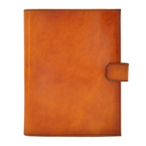 Andrea Del Sarto: Santa Croce Range Collection – Italian Calf Leather Snap Closure Padfolio in -Cognac