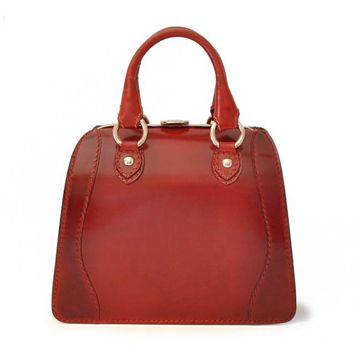 Saturnia: Santa Croce Range Collection – Small Italian Calf Leather Top Handle Tote Handbag - Ciliegia, leather handbags