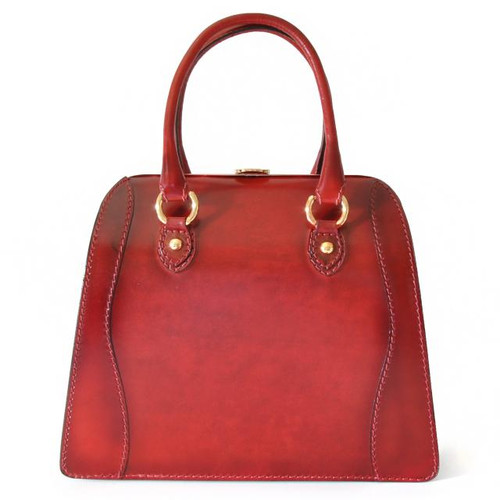 Saturnia: Santa Croce Range Collection –  Italian Calf Leather Top Handle Handbag in Ciliegia