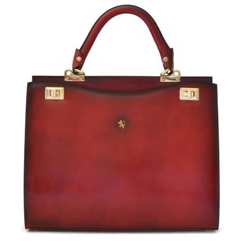 Anna Maria Luisa: Santa Croce Range Collection – Italian Calf Leather Top Handle Handbag in - Chianti