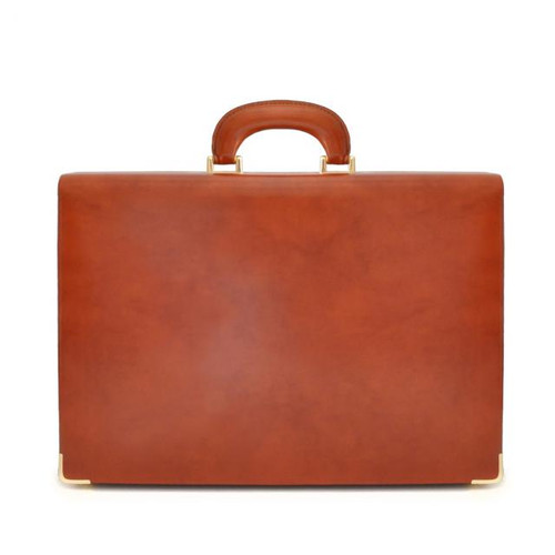 Machiavelli: Radica Range Collection – Italian Calf Leather Attache Briefcase in- Brown