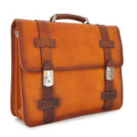 Vallombrosa: Bruce Range Collection – Italian Calf Leather Accordion Double Compartment Briefcase in Cognac Main View