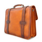 Vallombrosa: Bruce Range Collection – Italian Calf Leather Accordion Double Compartment Briefcase in Cognac Side View