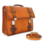 Vallombrosa: Bruce Range Collection – Italian Calf Leather Accordion Double Compartment Briefcase in Cognac Full View