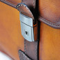Vallombrosa: Bruce Range Collection – Italian Calf Leather Accordion Double Compartment Briefcase in Cognac Close View