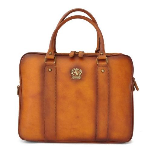 Magliano: Bruce Range Collection – Italian Calf Leather Tophandle Laptop Briefcase in Cognac