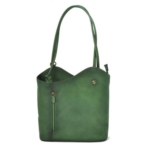 Consuma: Bruce Range Collection – Large Italian Calf Leather Shoulder Backpack Bag in Emerald
