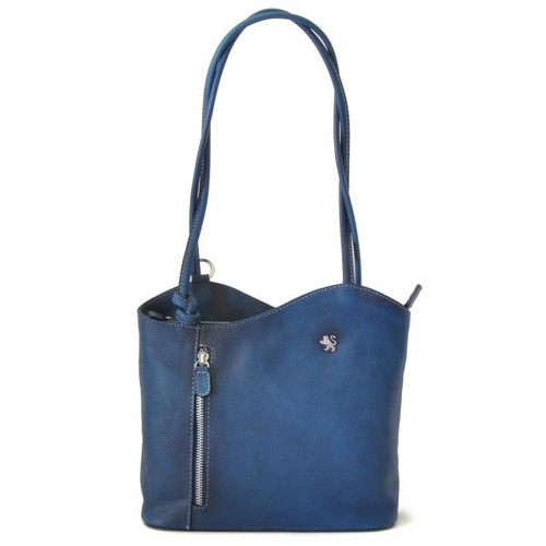 Consuma: Bruce Range Collection – Small Italian Calf Leather Shoulder Backpack Handbag in Blue